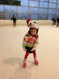 Hadley, the competitive one.  She zips around the ice, shouting out her count with every lap.  Last time we were at the rink she got up to 60.