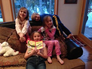 Snuggly evenings in the ski house with Maren reading to us