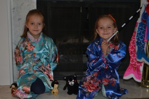 Lydia and Hadley with some of the beautiful gifts Gigi and Grandpa brought from Japan