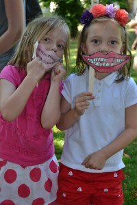 Lydia and Hadley with their teeth masks