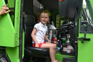 Hadley in the garbage truck